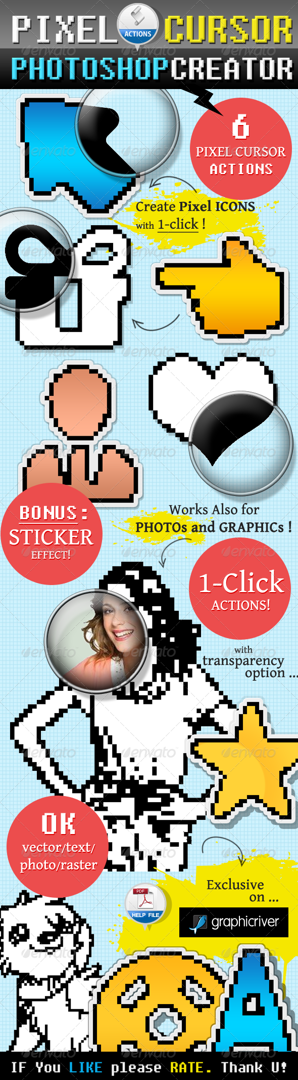 Pixel Cursor Icon Photoshop Action - Actions Photoshop