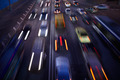 Car traffic at night. Motion blurred background. - PhotoDune Item for Sale