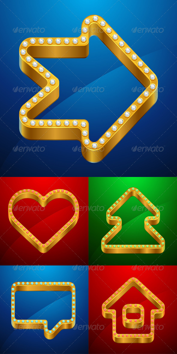 GraphicRiver Gold Icons of House Bubble Heart Tree 4600248