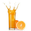 splash of juice in the glass with orange isolated on white - PhotoDune Item for Sale