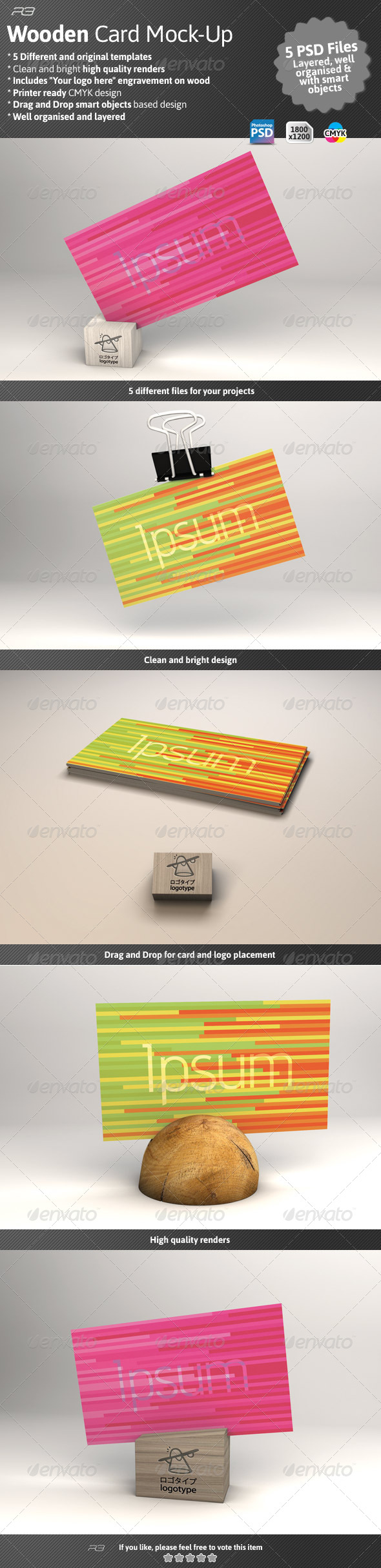 GraphicRiver Business Card Mock Wood Template 4600679
