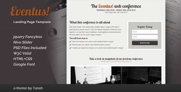 Eventus Landing Page - Events Entertainment
