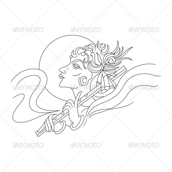 GraphicRiver Hindu Lord Krishna Religious Vector Design 4601791