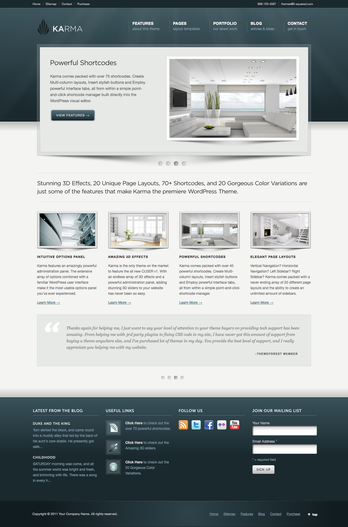 Karma - Clean and Modern WordPress Theme - Stunning 3D Effects, 20 Unique Page Layouts, 70+ Shortcodes, and 20 Gorgeous Color Variations are just some of the features that make Karma the premiere WordPress Theme.