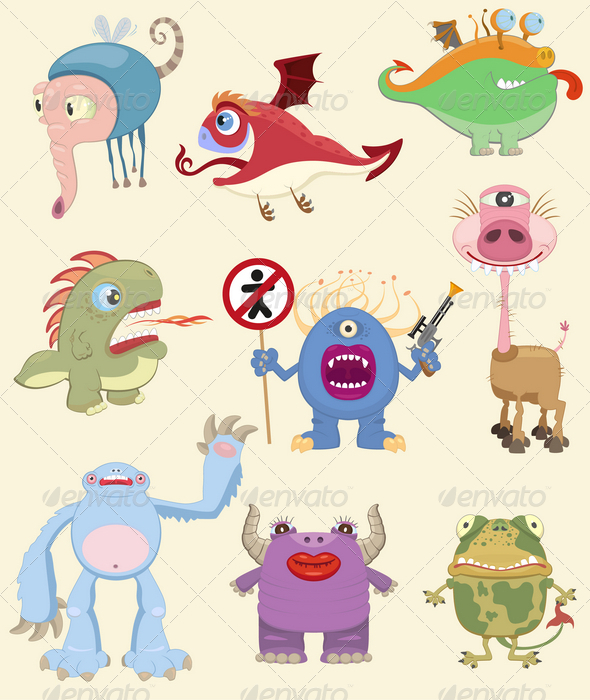 GraphicRiver Cartoon Monsters Collection 4605297