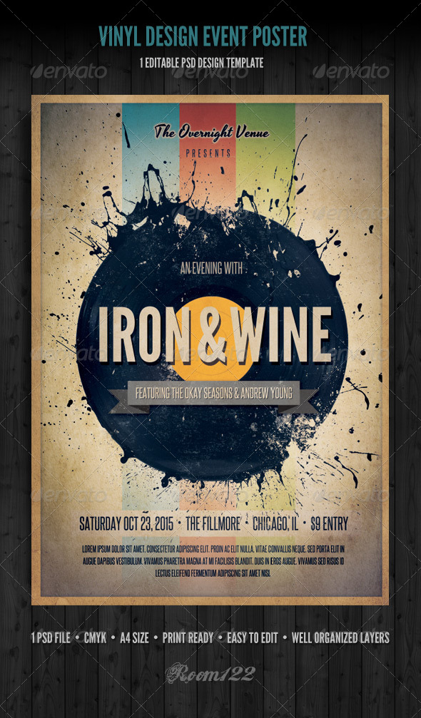 GraphicRiver Vinyl Event Flyer Poster Template 4605317
