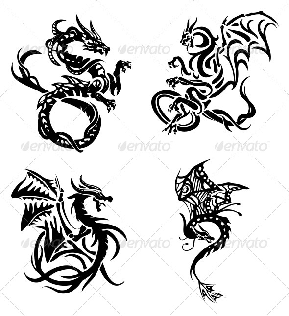 GraphicRiver Tribal Dragons 4 Pack 4605832