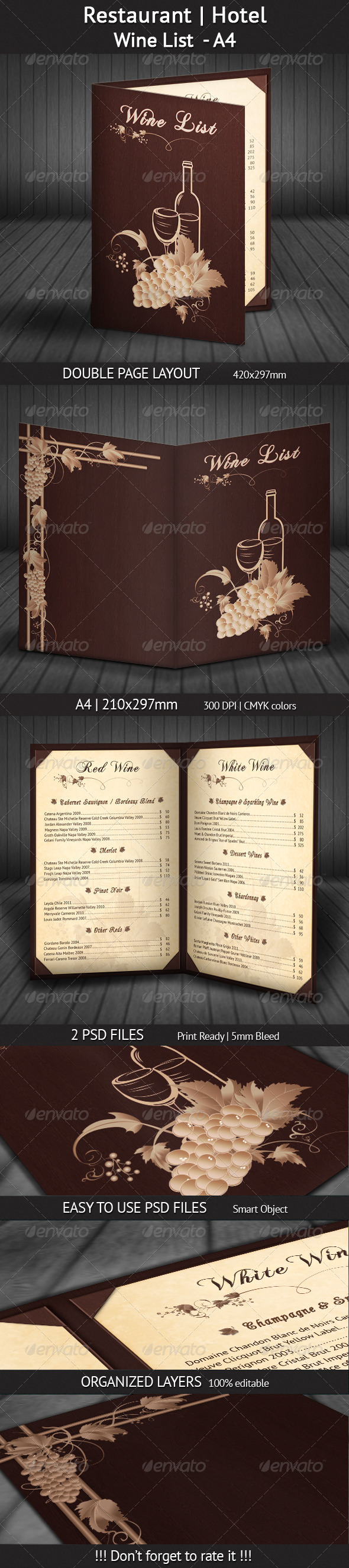 GraphicRiver Restaurant Hotel Wine List A4 4527828