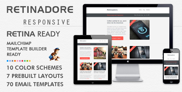 retinadore responsive email newsletter template by bedros themeforest. Black Bedroom Furniture Sets. Home Design Ideas