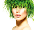 Beauty Spring Woman with Fresh Green Grass Hair. Summer Nature - PhotoDune Item for Sale
