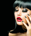 Fashion Girl Closeup. Red Lips And Black Nails - PhotoDune Item for Sale