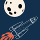 Space Rocket Flying to the Moon from Earth - GraphicRiver Item for Sale
