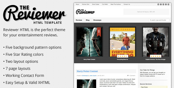ThemeForest - Reviewer - HTML Template for Entertainment Reviews - RiP