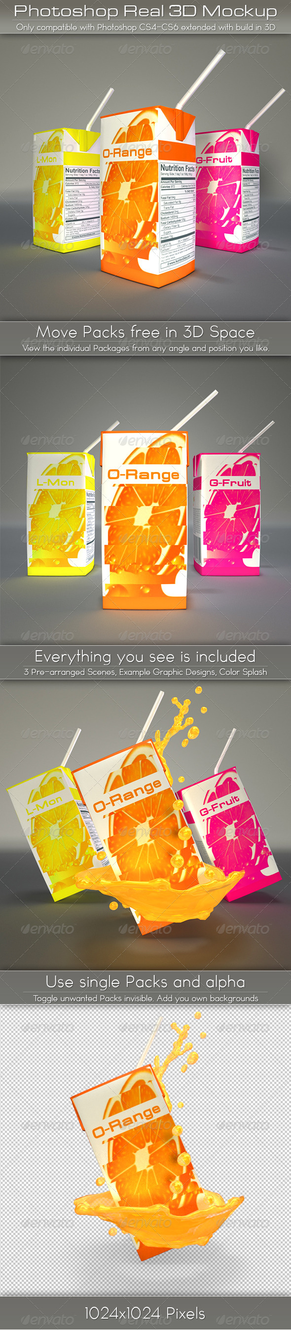 GraphicRiver Mini Juice Carton Tetra Pack Mockup 4611032