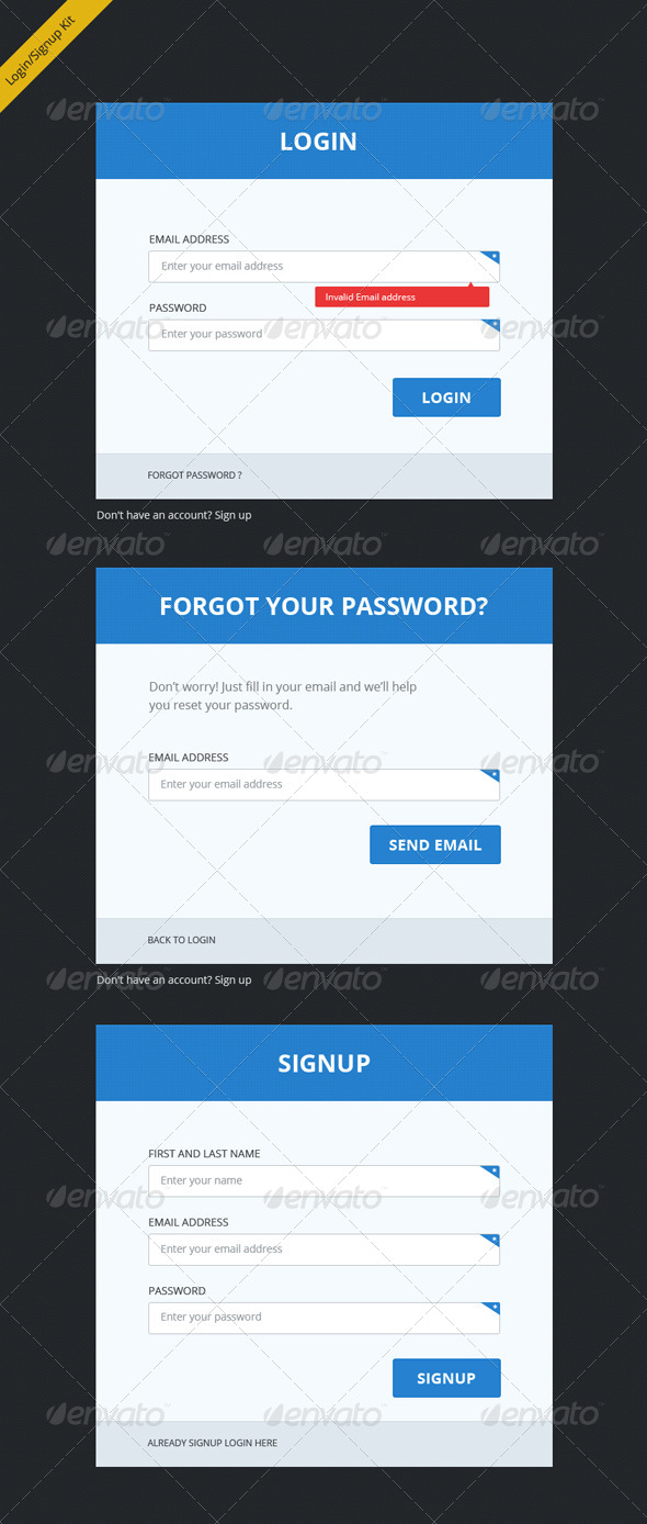 GraphicRiver Clean Clear and Bold Login Signup Forms 4591752