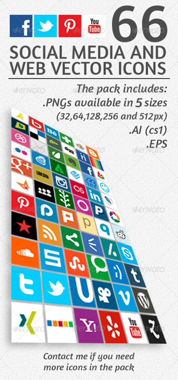 GraphicRiver 66 Social Media and Web Vector Icons 4578902