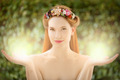 Beautiful Fairy Woman With Glow In Hands On Natural Green Background - PhotoDune Item for Sale