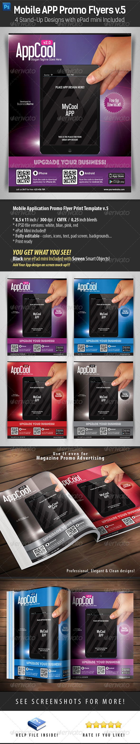 Mobile App Flyers Template v.5 - Flyers Print Templates