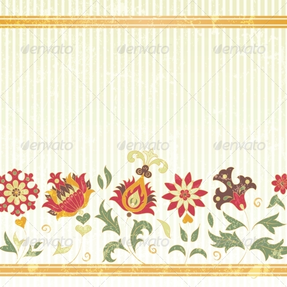 GraphicRiver Vector Background with Retro Flowers 4613054