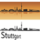 Stuttgart Skyline in Orange Background - GraphicRiver Item for Sale