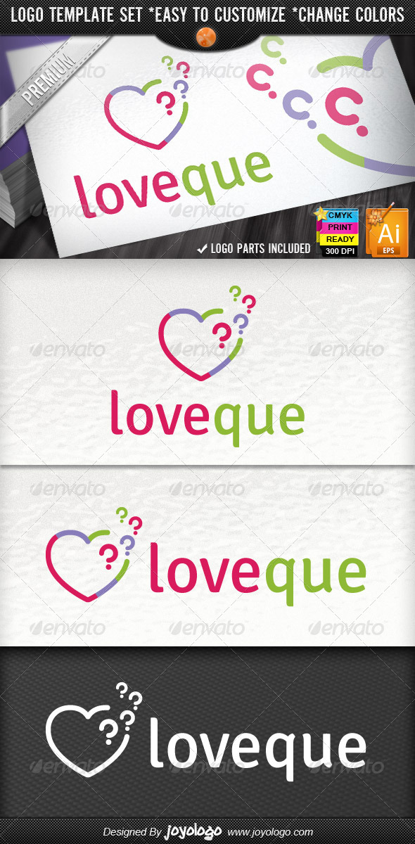 GraphicRiver Abstract Pixel Questions Love Heart Logo Template 4594155