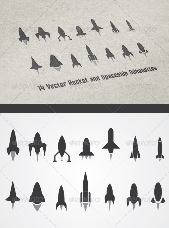 GraphicRiver 14 Rocket and Spaceship Silhouettes 4615899