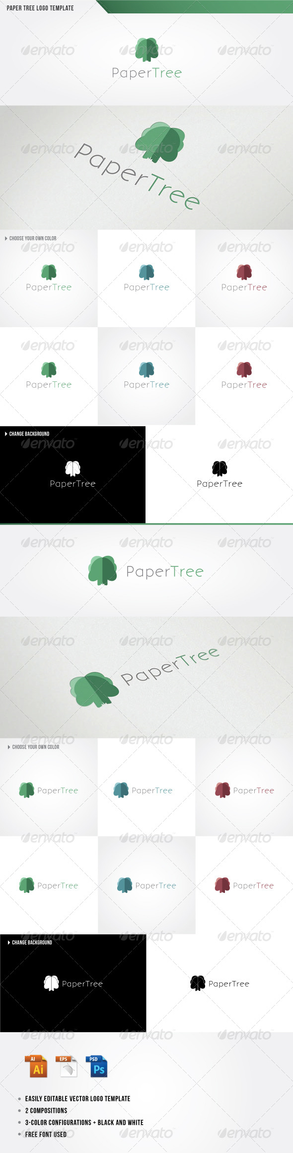 GraphicRiver Paper Tree Logo Template 4595627