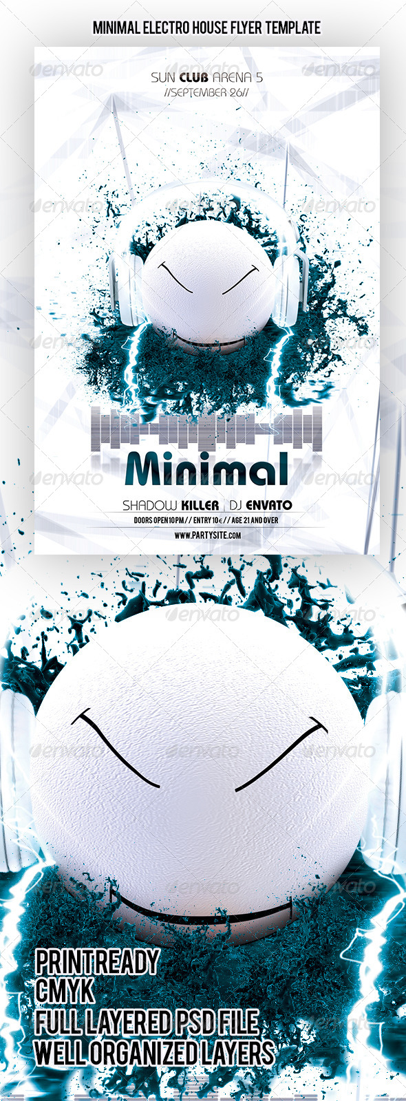 GraphicRiver Minimal Electro House Flyer Template 4619677