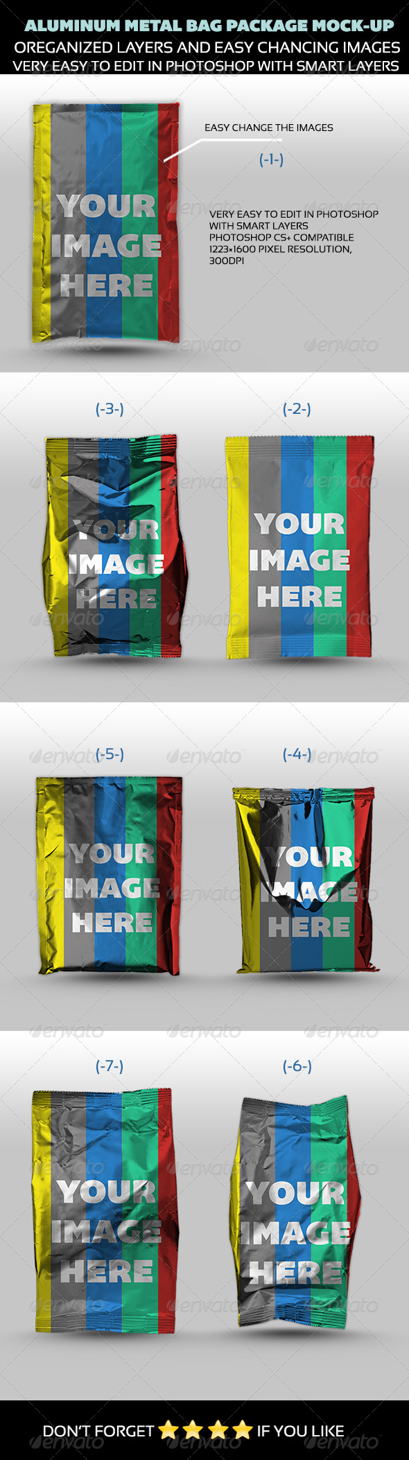 GraphicRiver Aluminum Metal Bag Package Mock-up 4551397