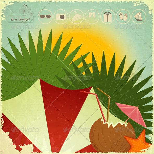 GraphicRiver Summer Beach Card in Retro Style 4620977