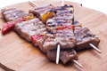 mixed meat skewer on wooden - PhotoDune Item for Sale