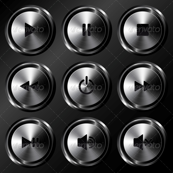GraphicRiver Metallic Sound Buttons Vector Set 4621354