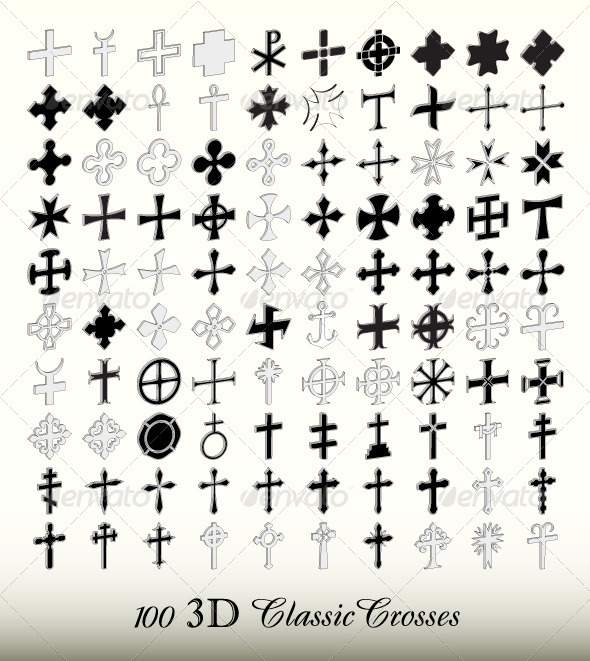 GraphicRiver Collection of 100 Isolated Classic Crosses in 3D 4594625