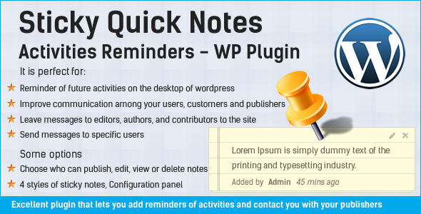 Sticky Quick Notes - Mga Aktibidad Paalala sa WP - WorldWideScripts.net Item para sa Sale