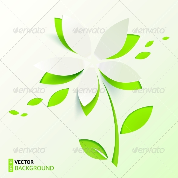 GraphicRiver Green Paper Cutout Vector Flower 4621448