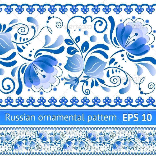 GraphicRiver Russian National Blue Floral Pattern 4622013