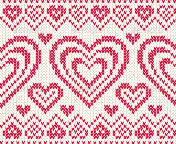 GraphicRiver Valentines Day Knitted Vector Seamless Pattern 4622973