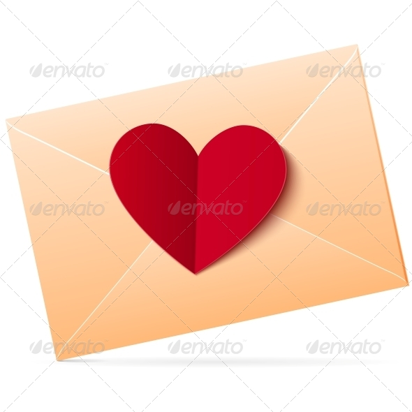 GraphicRiver Vector Envelope with Red Paper Heart 4622994