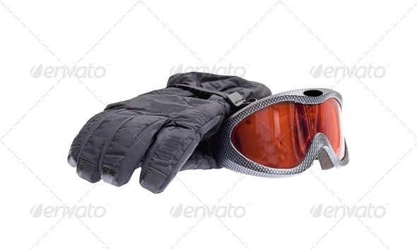 GraphicRiver Ski Snowboard Goggles with Gloves Isolated on White 4623706