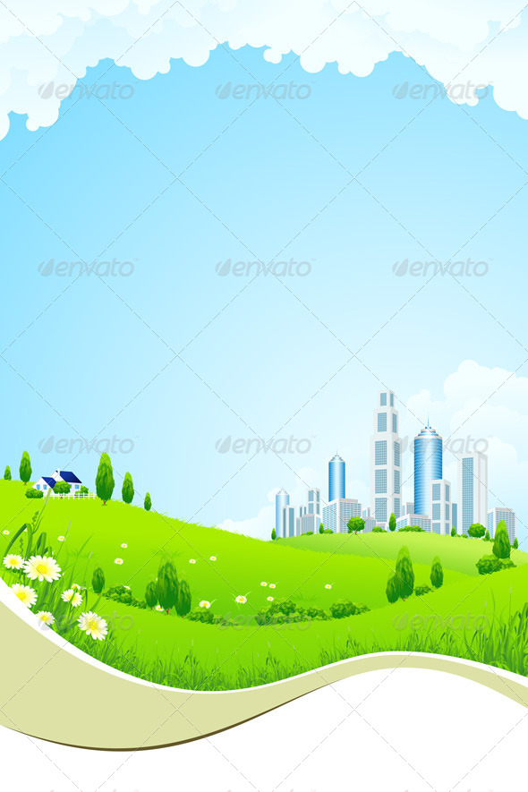 GraphicRiver Green Landscape with City 4624309