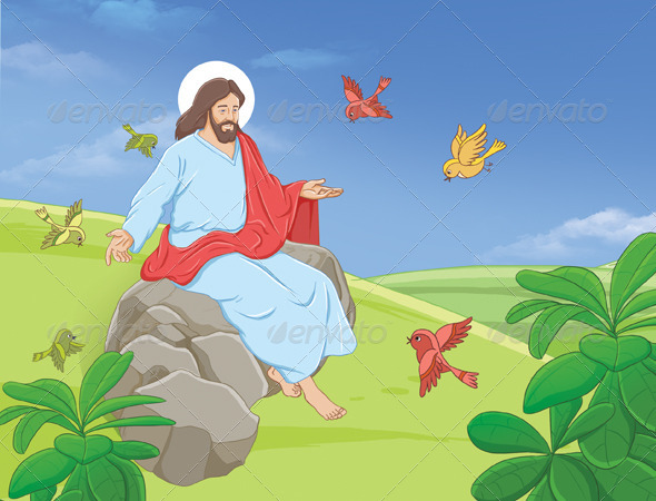 Jesus with Birds - Scenes Illustrations