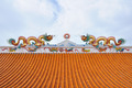 Statue of twin dragons on the roof of Chinese temple - PhotoDune Item for Sale
