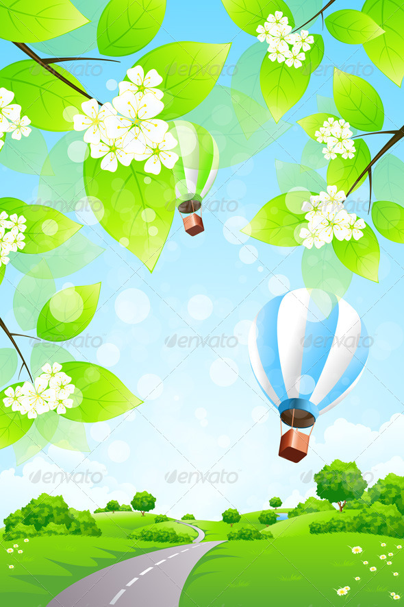 GraphicRiver Green Landscape with Balloons 4628454