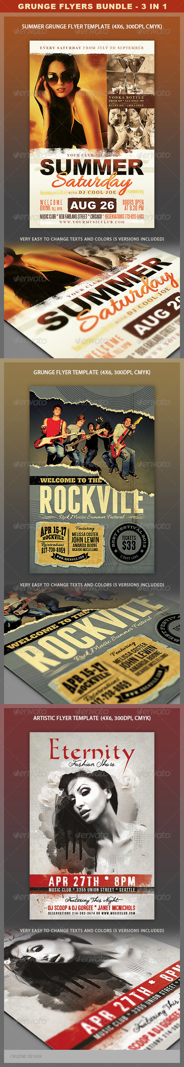 Grunge Flyers Bundle - Events Flyers