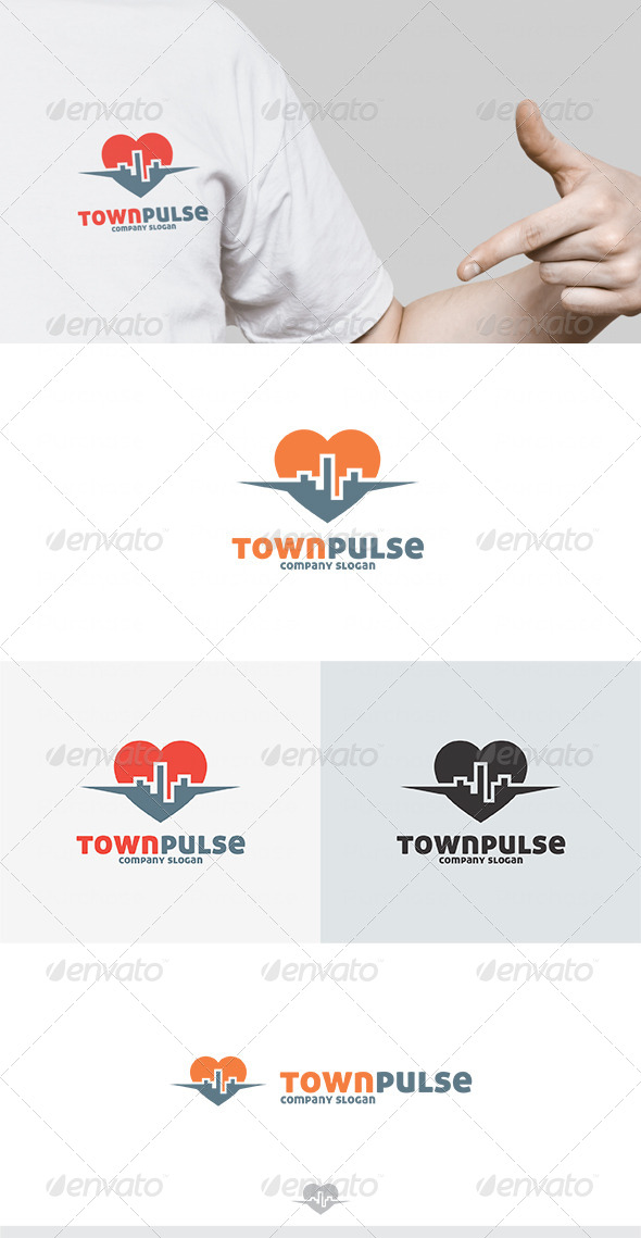 Town Pulse Logo - Buildings Logo Templates