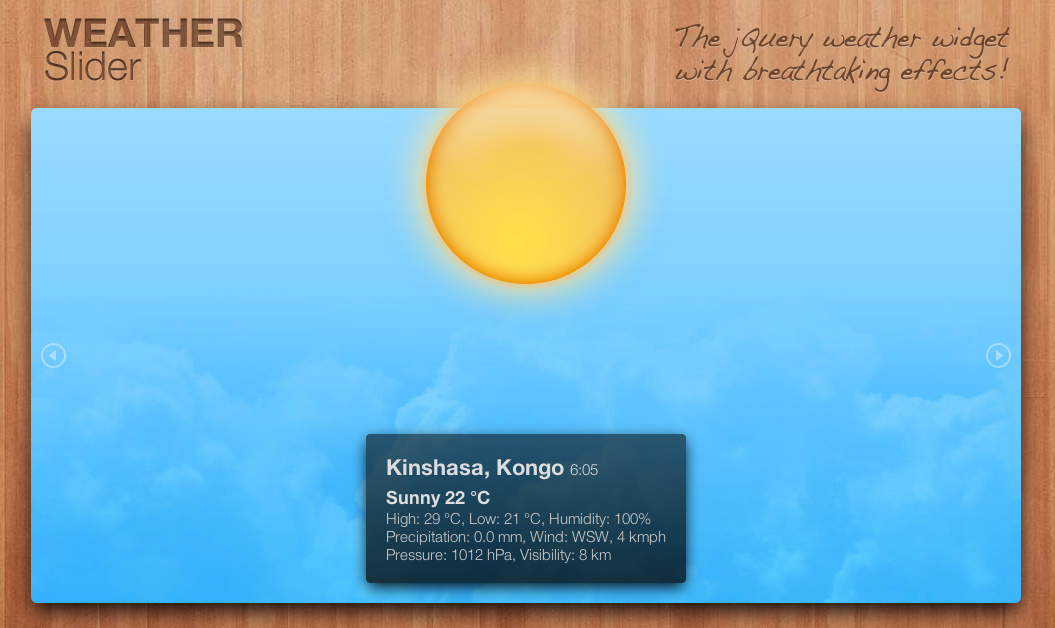 WeatherSlider - jQuery animated weather widget
