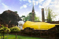 Reclining Buddha image, Wat Yai Chaimongkol in Ayutthaya. - PhotoDune Item for Sale