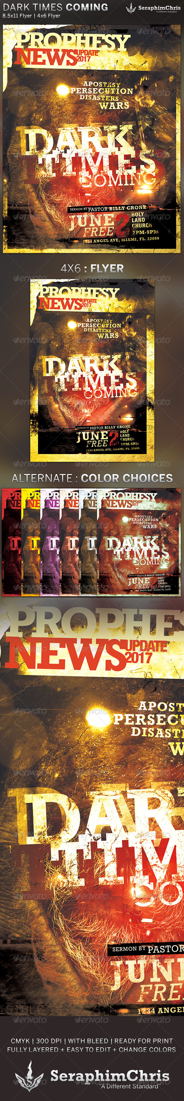 Dark Times Coming: Church Flyer Template - Church Flyers