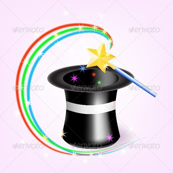 GraphicRiver Magic Hat with Magic wand 4631452