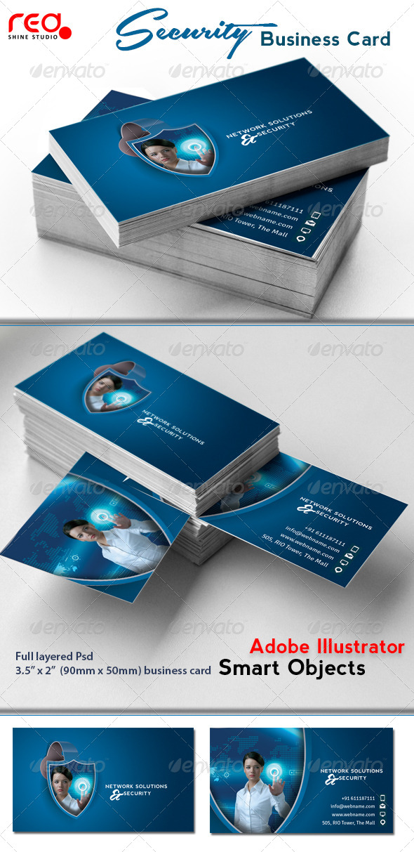 GraphicRiver Network Solutions & Security Business Card 4631672
